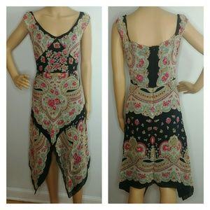 Anna Sui 100% Silk Floral Handkerchief Dress Sz 4